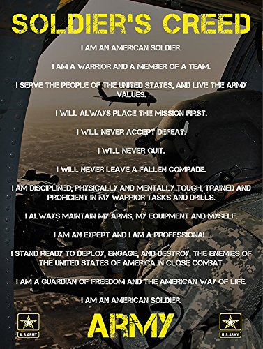 Army Soldiers Creed Poster 24x36 Military Gifts US Armed For