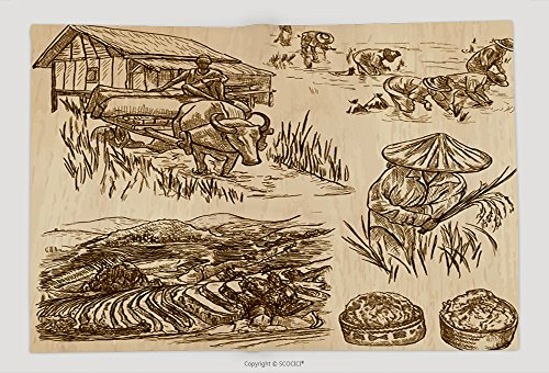 Supersoft Fleece Throw Blanket Agriculture Life Of A Farmer Rice Crop Collection Of Hand Drawn Vector Illustrations Set Of 468493889 (Rice Farmer Halloween)