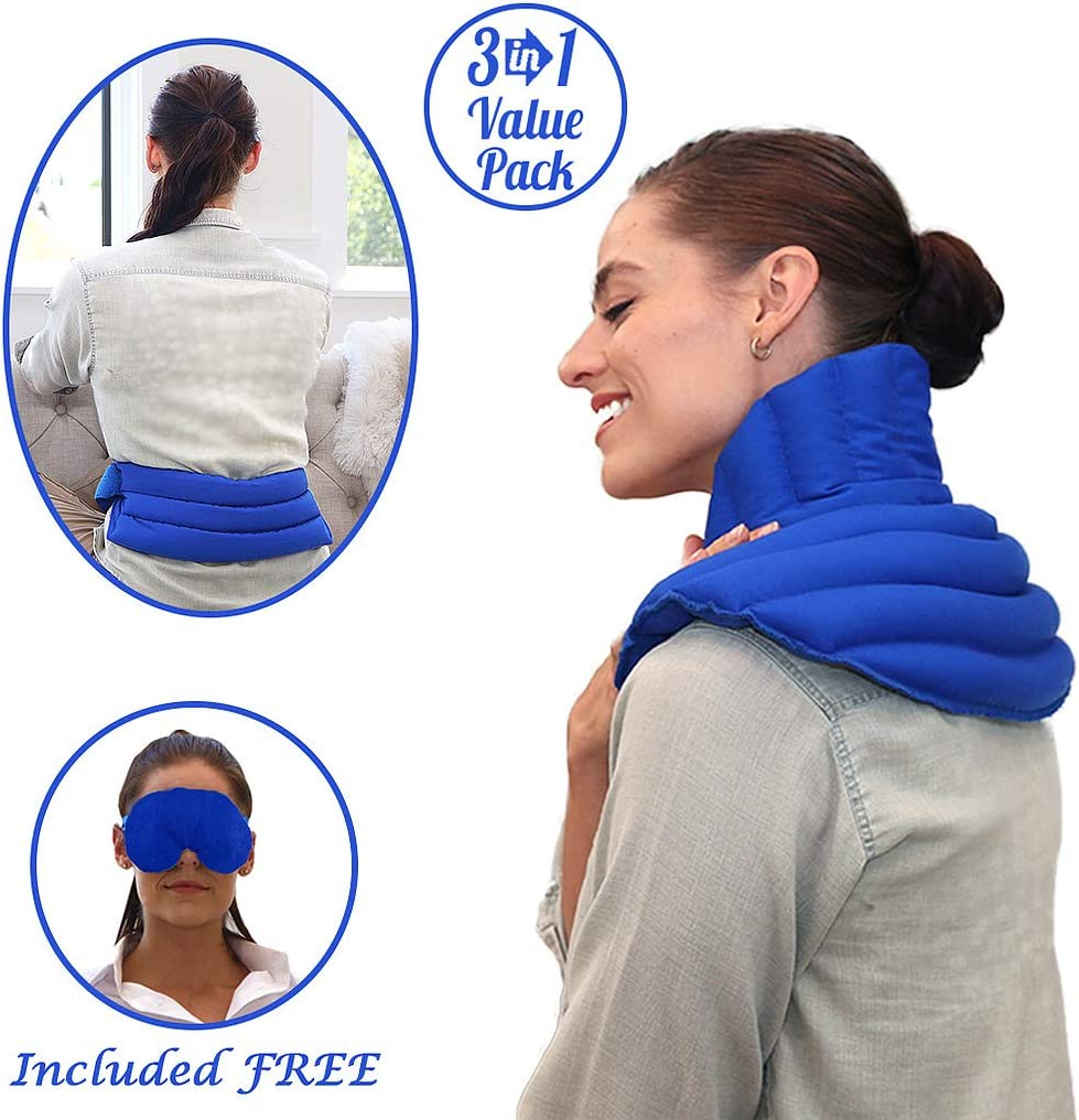 My Heating Pad Microwavable Set | Neck and Shoulder Heating pad, Lower Back Pain and Cramps Heat Wrap, Headache and Migraine Relief Eye Mask - Use for Pain Relief, Stress, and Relaxation (Blue Plus)