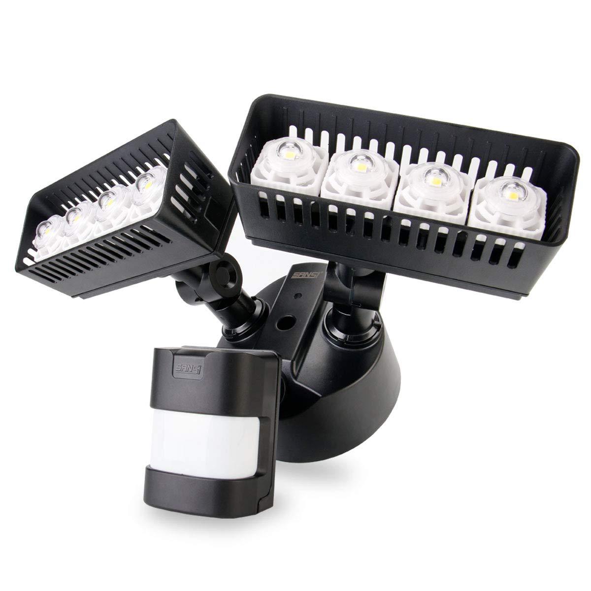 Sansi Neue Technologie LED Strahler mit Bewegungsmelder außen 30w 3400lm 5000k tageslichtweiß wasserdicht Weiß [Energieklasse A++] LED0001-WT-EW