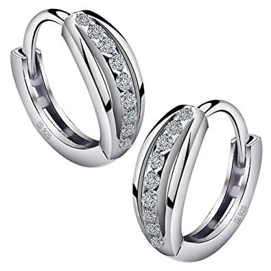 Meyiert 925 Sterling Silver Zirconia Beautiful Round Hoop Stud Earrings for Women (with Gift Box) bkuUrwGSi