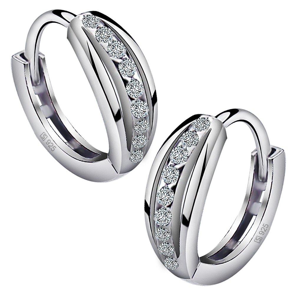 Viyino 925 Sterling Silver Zirconia Simulated Diamond CZ Hoop Stud Earrings for Women (White)
