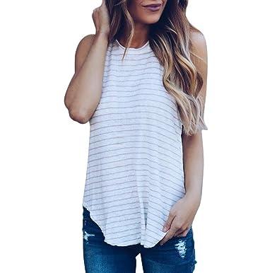 5a083996c7 Longra Débardeurs Femme Fille Vintage Rayé T-Shirt Femme Été sans Manches T- Shirt