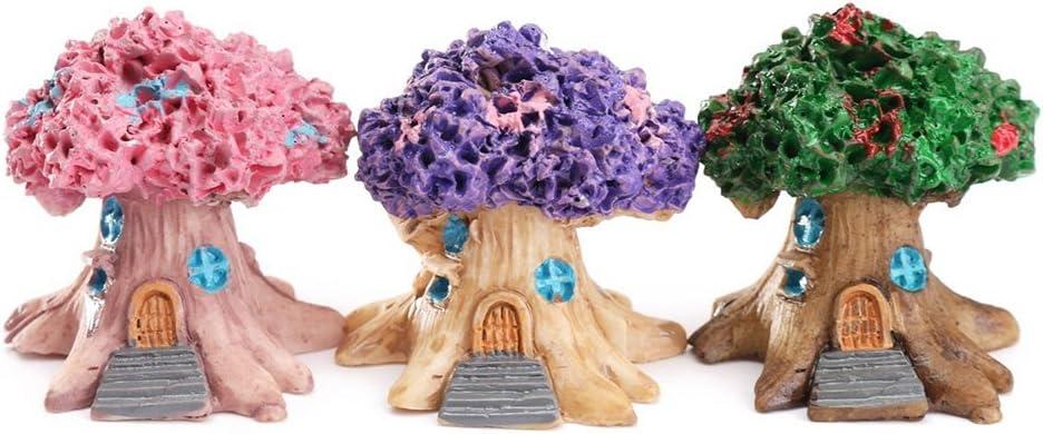 Mini casa de Hadas en Miniatura para jard/ín Color Morado Huhuswwbin Decoraci/ón de jard/ín de Resina Rosa decoraci/ón de paisajes
