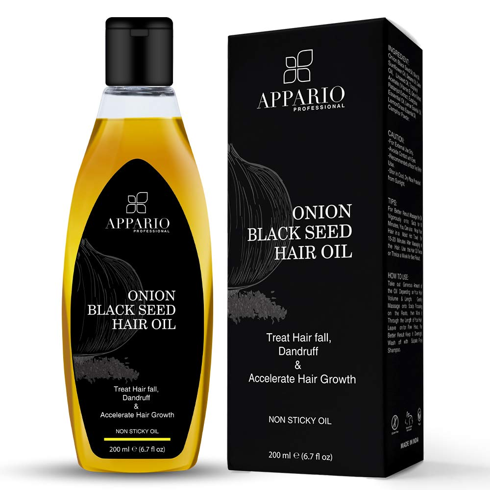 Appario Onion Black Seed Hair Oil - 6.7 Ounce | Natural Hair Care & Growth | Indian Ayurvedic Onion Hair Oil | Onion Oil for Hair Growth Organic