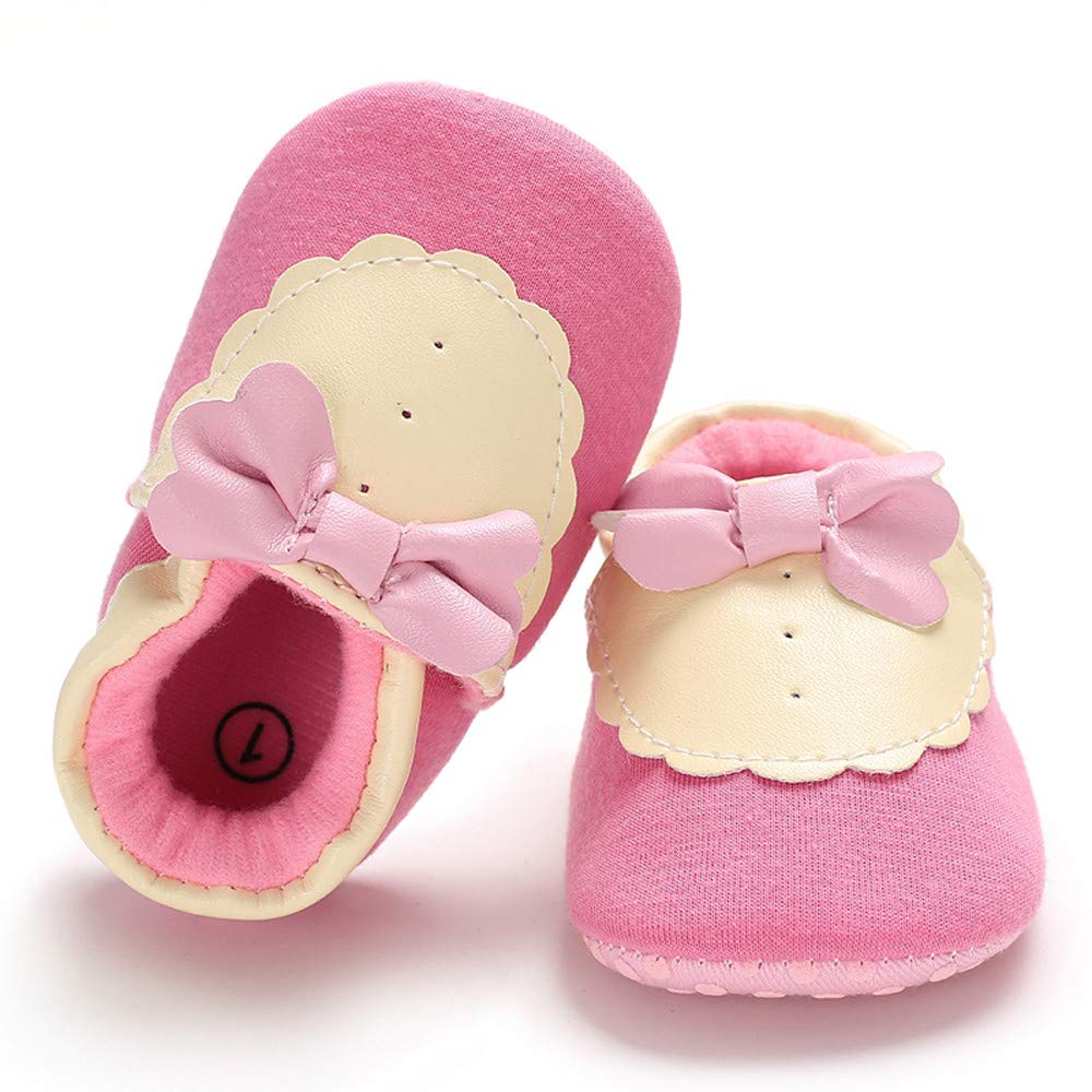 f641f0fd16ce2 Amazon.com: NUWFOR Baby Girl Soft Booties Snow Bow Floor Shoes ...