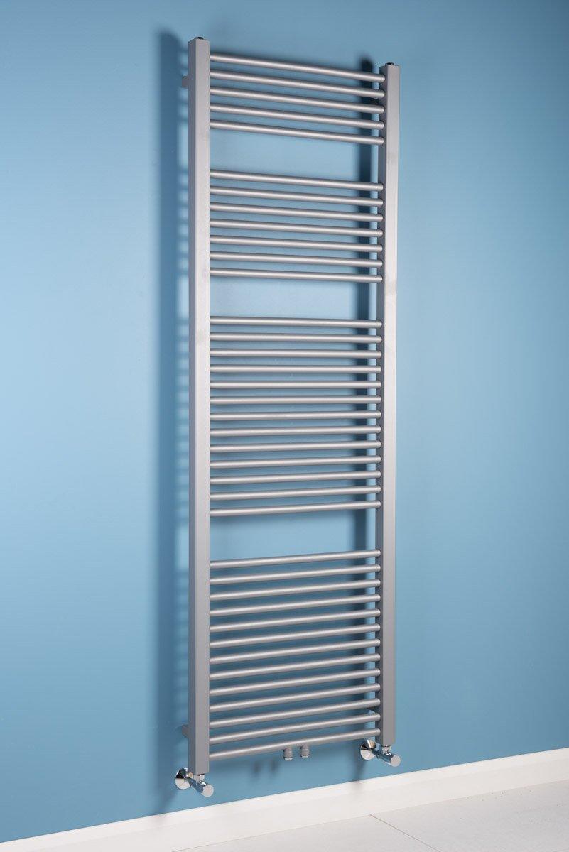 Sèche-serviettes eau chaude Falun - 990 W - 1800 x 600 - droit - Argent WarmeHaus