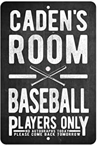 Personalized Baseball Players Only - No Autographs Metal Room Sign - Aluminum Baseball Wall Decor