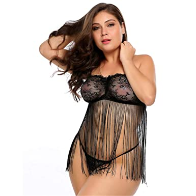 33f691406aa Black Sexy Porno Baby Doll Plus Size Lingerie Erotic Hot Sex Costume Women  Tassel Nightwear Dress Lace Porn Exotic Underwear  Amazon.co.uk  Clothing