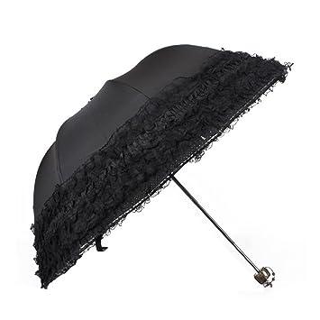 a8f55cf6d91a Sun Umbrella,Parasol Umbrella,Ladies Womens Girls Lace Parasol 98% UV  Protection Travel Umbrellas Tri-Fold Parasols Anti UV Wind Proof Sun Rain  ...