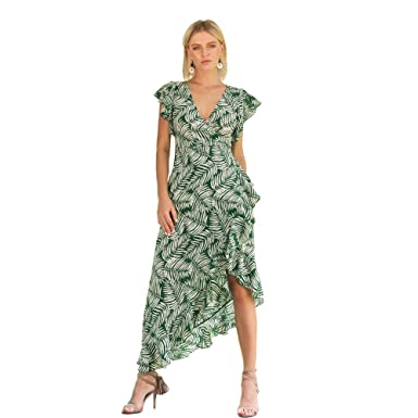 0d6014197b8b Image Unavailable. Image not available for. Color  EWYZ Womens Dresses  Summer Casual V-Neck Floral Print Geometric Pattern Belted Dress
