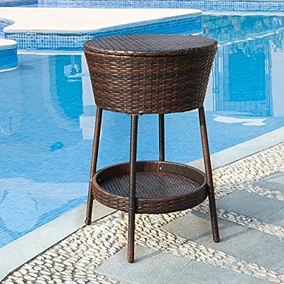 Joveco Outdoor Patio Garden Beverage Cooler Wicker Ice Bucket