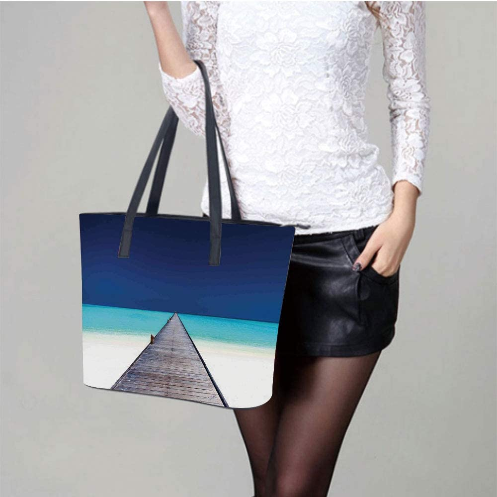 Artichoke Black Bud Women Leather Laptop Tote Office Shoulder Handbag Computer Briefcase