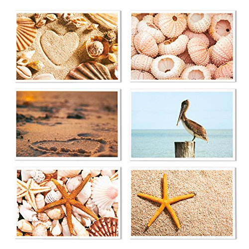 Nautical Beach Seaside Postcards - 40 Glossy Postcards - Bulk Set - Featuring Boats, Lighthouses, Sea Shells, Sand Castles - 4 x 6 Inches Photo #5
