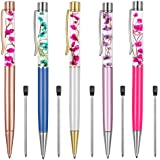 Ballpoint Pens,5PCS Metal Ball Pens Office Supplies,Rose Red/Blue/Purple/White/Rose Gold Pens Dynamic Liquid Flower Pen Black for Desk Accessories