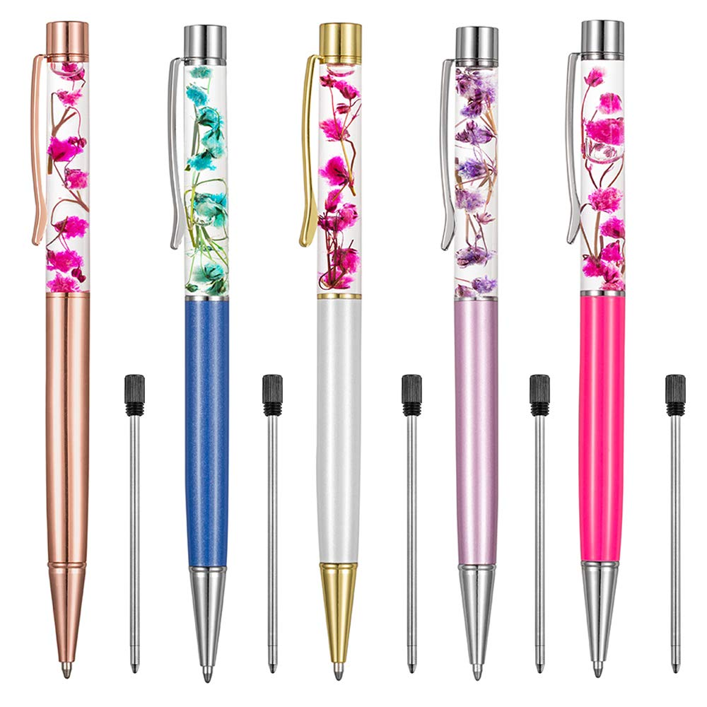 Ballpoint Pens,5PCS Metal Ball Pens Office Supplies,Rose Red/Blue/Purple/White/Rose Gold Pens Dynamic Liquid Flower Pen Black for Desk Accessories