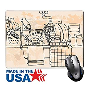 "MSD Natural Rubber Mouse Pad/Mat with Stitched Edges 9.8"" x 7.9"" Hand drawn vintage kitchen IMAGE 20014188"