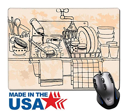 """Price comparison product image MSD Natural Rubber Mouse Pad/Mat with Stitched Edges 9.8"""" x 7.9"""" Hand drawn vintage kitchen IMAGE 20014188"""