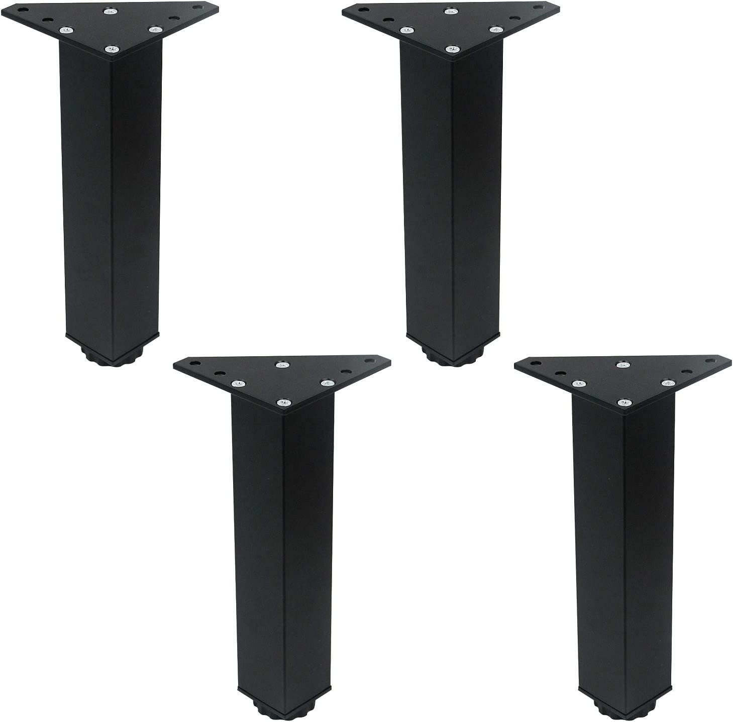 Tulead 200mm Height Adjustable Furniture Legs Cabinet Feet Replacement Sofa Legs Aluminum Cabinet Bed Wardrobe Feet Pack of 4 with Screws (Black)