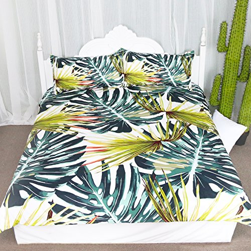 Monstera Deliciosa Duvet Cover Set, Tropical Islands Plants, 3 Pieces including Duvet Cover and Two Matching Shams (Queen) (Duvet Set Tropical)