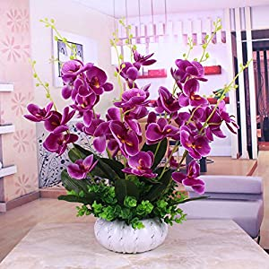 Artificial Flowers,Orchid,Ceramic Vases,Purple,Decorative FlowersBridal Accessories Arts Crafts Home Garden Decoration By XHOPOS HOME 55