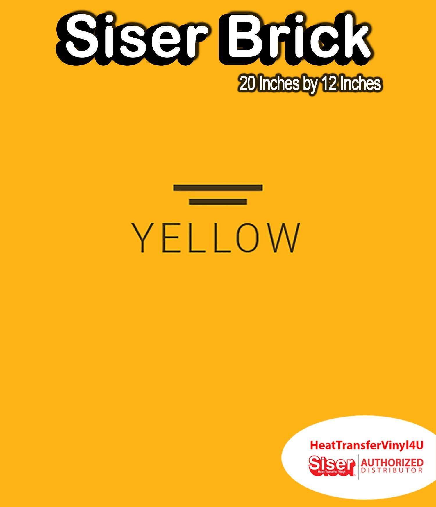 """Siser Brick 600 Iron On Heat Transfer Vinyl 20"""" (Yellow, 1 Foot)"""