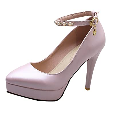 UH Damen Riemchen High Heels Plateau Stiletto Pumps mit Perlen Party Schuhe