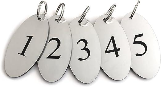 Casas de hu/éspedes n/úmeros Negros ovalados Grabados B/&BS Etiquetas para Llaves para hoteles corporaci/ón ORIGIN Llaveros pl/ástico acr/ílico Plateado numerados 1 a 5