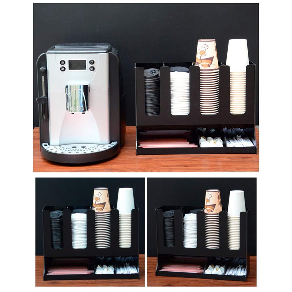 Organizador Vertical De La Taza De Papel, Condimento Del Café Y Dispensador Del Sostenedor De Las Tazas Para La Fiesta De Boda Casera Del Café,Black: ...