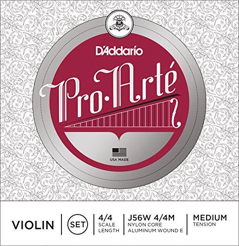 Pro Arte Strings (D'Addario Pro-Arte Violin String Set with Wound E, 4/4 Scale, Medium Tension)