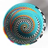 African Zulu woven telephone wire bowl – Extra small round - Turquoise and multicolour - Gift from Africa