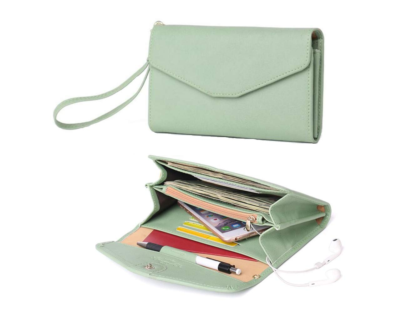 Zg Wristlets for Women, Cell Phone Clutch Wallet, Passport Wallet, All In One Purse Extra Capacity by Zg gift (Image #1)