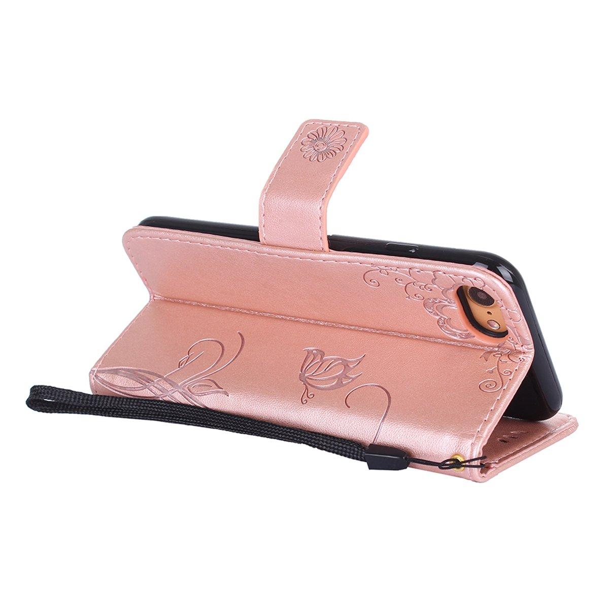 MoreChioce kompatibel mit iPhone 8 H/ülle,kompatibel mit iPhone 7 Stand H/ülle Retro Blau Relief Schutzh/ülle Klapph/ülle Flip Wallet Case Magnetische mit Kartenfach Standfunktion,EINWEG