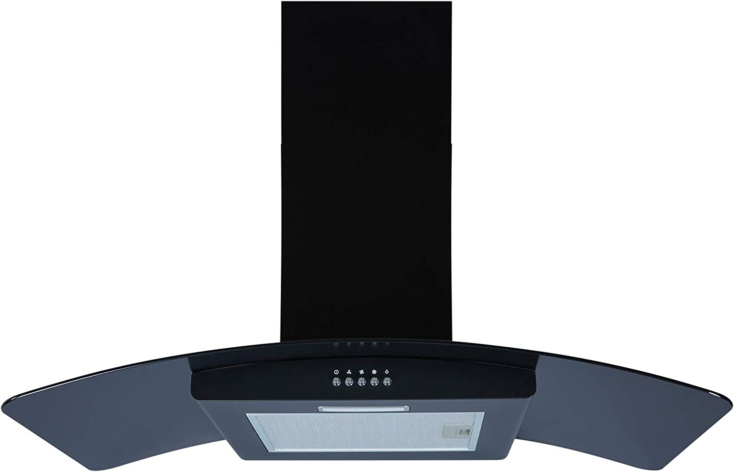Cookology GHC901BK 90cm Curved Glass Cooker Hood Kitchen Extractor fan Black with Filters