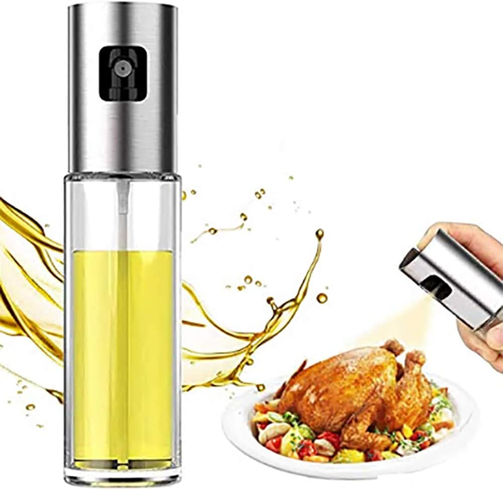 Olive Oil Sprayer Bottle, Stainless Steel Glass Oil Dispenser for Cooking, BBQ, Salad, Baking, Roasting, Kitchen Tools, 3.4- ounce Capacity