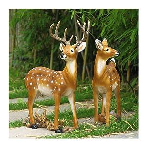 Cute Sika Deer Animal Sculpture Outdoor Garden Ornament, Garden Statue Lawn Ornament,