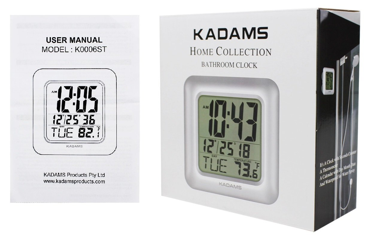 Month Date Day Display Wall Clock Humidity and Moisture Proof Waterproof for Water Spray Suction Cups Temperature Table Stand Silver K0006ST KADAMS Digital Bathroom Shower Clock Seconds Counter