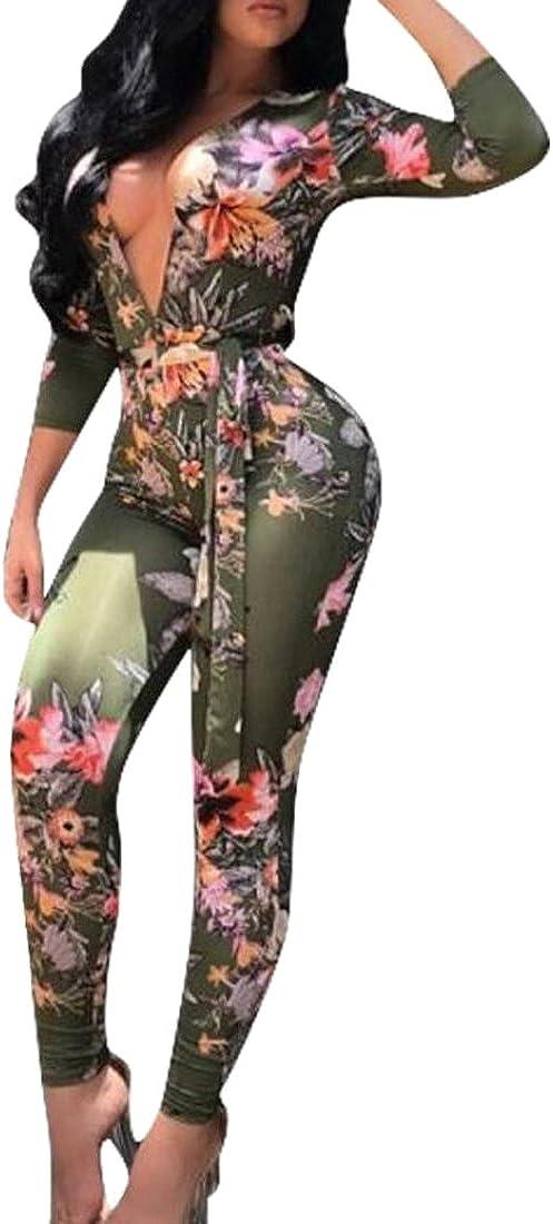 Oberora Womens Fashion Floral Digital Print Jumpsuit Clubwear