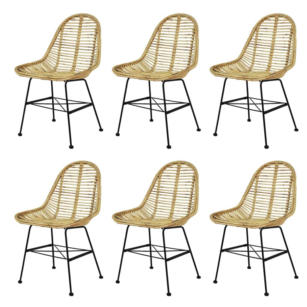 Beige 6pcs vidaXL 2X Dining Chairs Natural Rattan Beige Kitchen Dining Room Furniture
