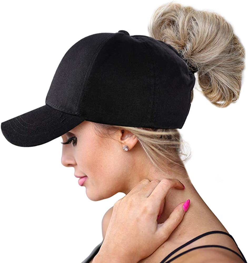 Washed Style Ponytail Top Hats for Women Baseball Caps High Messy Bun Caps Ponycaps Dad Hats