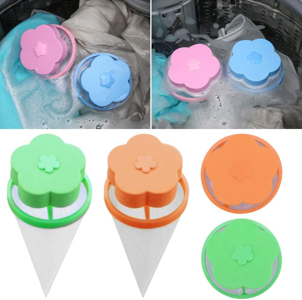 Oziral Household Reusable Washing Machine Floating Lint Mesh Bag Hair Filter Net Pouch Floating Washing Machine Filter Bag Washer Lint Trap Flower Type Blue