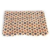 Pet cushion dog cage mat coral fleece pet blankets warm blanket medium and large pets for fall/winter products , m , beige stars