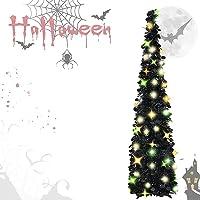 EEX 5ft Black Tinsel Halloween Christmas Tree Pop Up Tinsel Coastal Halloween Tree,Sequin Pensil Tree Apartment Home…