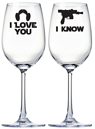 Amazoncom I Love You I Know Wine Glasses Star Wars Inspired Quote