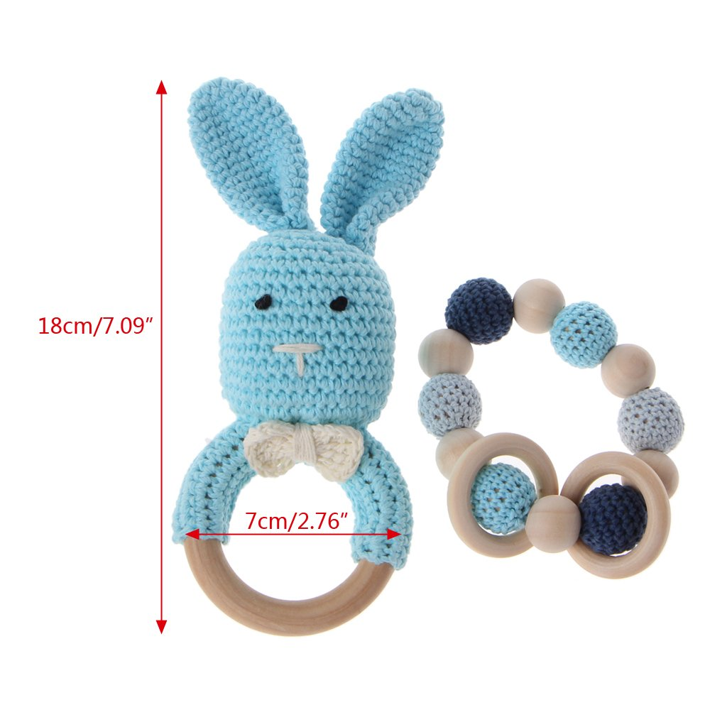 NEW Baby Natural Wooden Teether Crochet Bunny Ears Teething Ring Chewing Toy