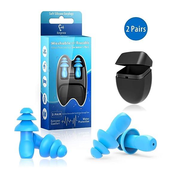 Gehörschutzstöpsel zum Schwimmen - 2 Paar Wasserdichter wiederverwendbarer Silikon-Gehörschutzstöpsel zum Schwimmen, Duschen,