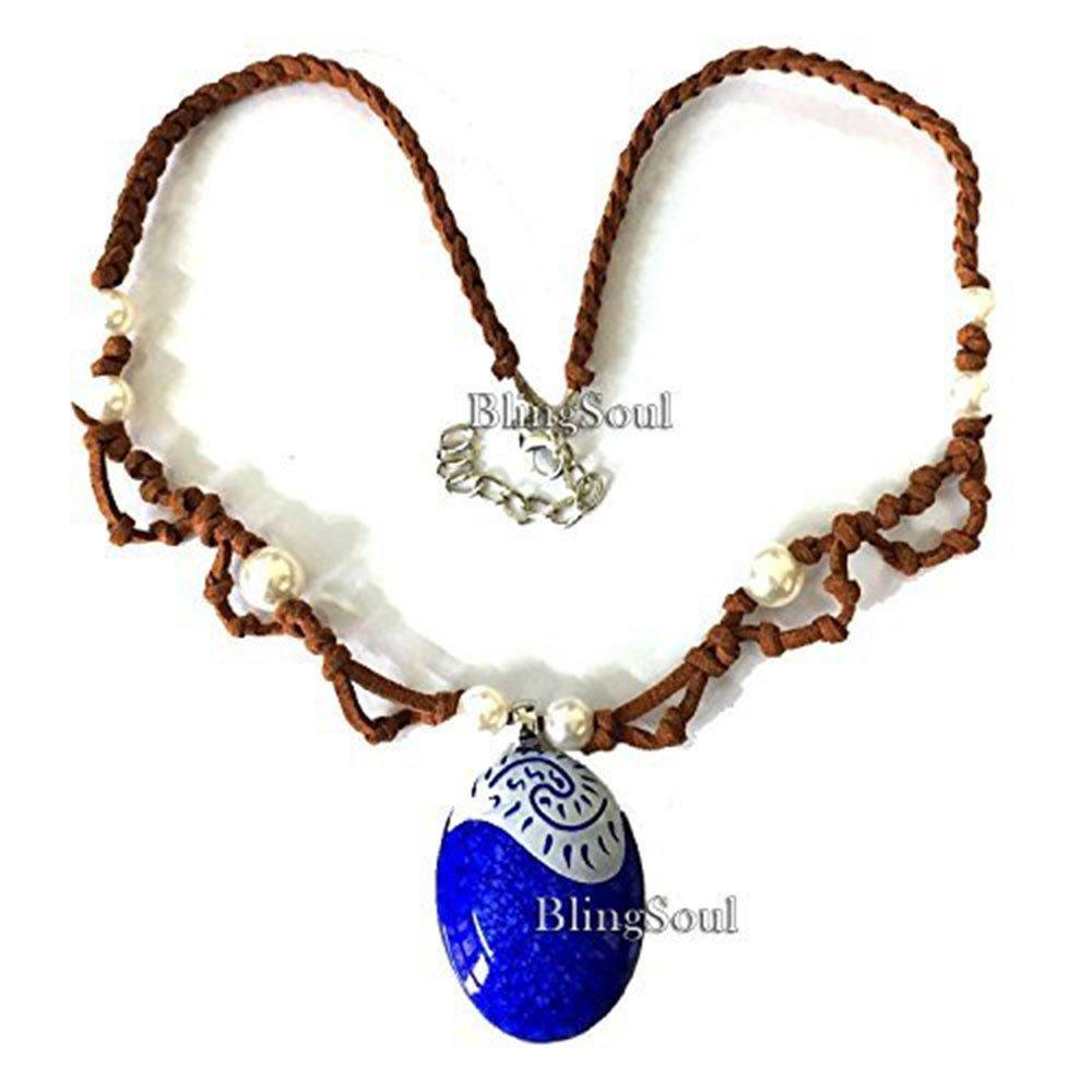 BlingSoul Disney Blue Seashell Necklace - Moana Maui Necklace Jewelry for Women