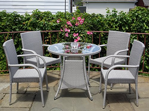 5 Pc Patio Resin Outdoor Wicker Dining Set. Round Table w/Glass+4 Arm Chair. Gray Color