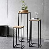 Homey Essense Metal Frame Solid Sheesham Wood Top Nesting Table Decoration for Home | Set of 3 Stools | (Black&Brown)