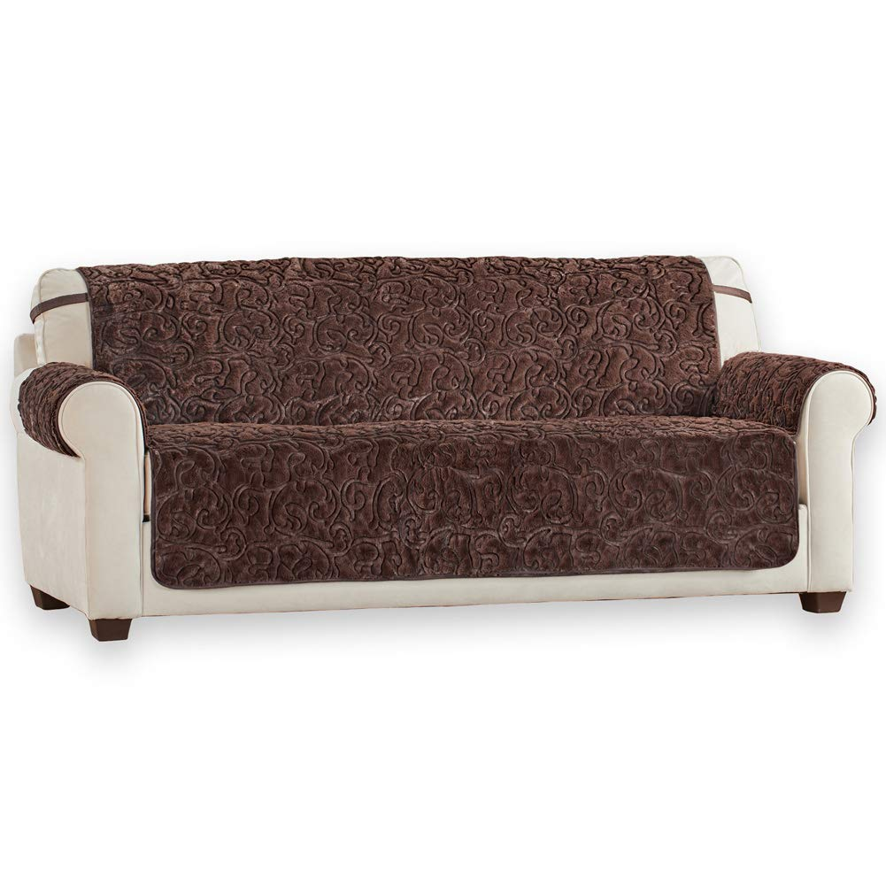 Collections Etc Plush Faux Fur Reversible Furniture Protector Cover, Microfiber Fabric Reverse Side, Chocolate, Sofa
